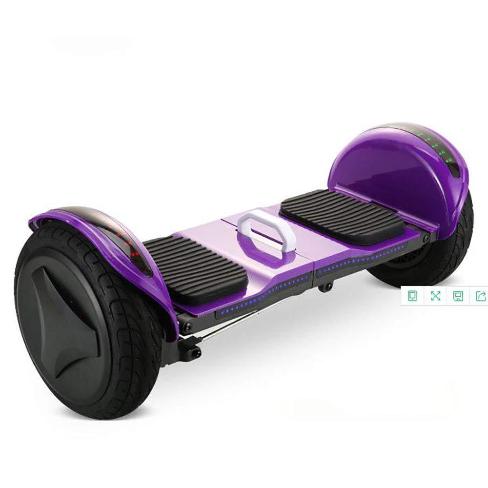 4D統合インテリジェント10インチ二輪バランスカー、防爆タイヤ、ブルートゥース音楽付き自動バランス電動スクーター、折りたたみ式、LEDライト、大人と子供に適しています(紫)