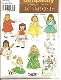 "Simplicity 18"" Doll Clothes Pattern 4347 Fits American Girl Dolls Like Molly Emily and Kit Style Dresses, Jumper, Vest, Shirt, Pajamas, Bathrobe, Skirt, Coat Hat/bonnet, Slip, Underpants!"