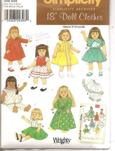"Simplicity 18"" Doll Clothes Pattern 4347 Fits American Girl Dolls Like Molly Emily and Kit Style Dresses, Jumper, Vest, Shirt, Pajamas, Bathrobe, Skirt, Coat Hat/bonnet, Slip, Underpants!"