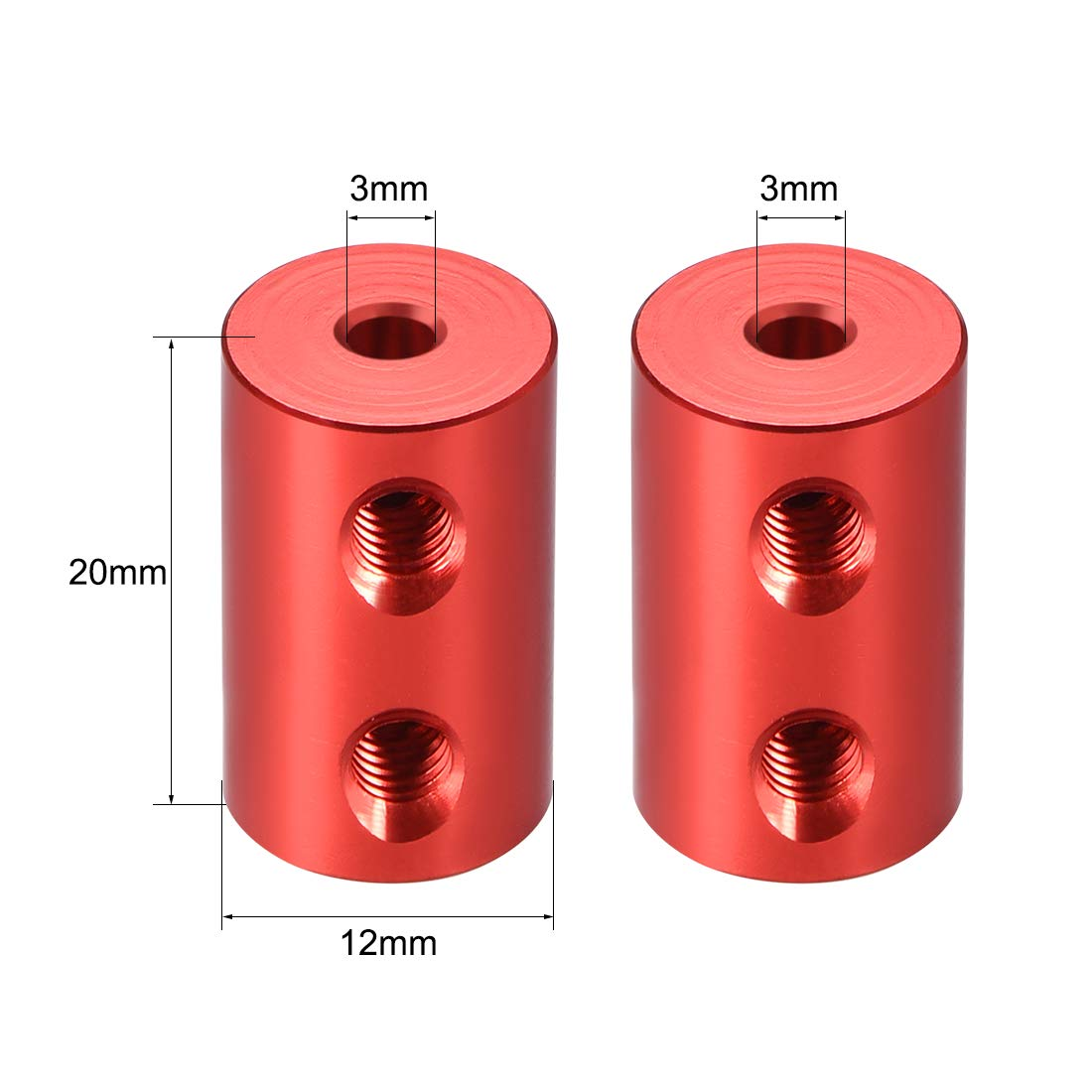 uxcell Shaft Coupling 2mm to 2mm Bore L20xD12 Robot Motor Wheel Rigid Coupler Connector Red 2 PCS