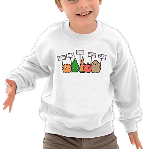 Puppylol Vegetables War Kids Classic Crew-Neck Pullover Hoodie White 4 Toddler
