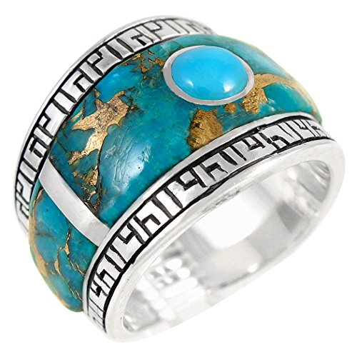 Turquoise Ring Sterling Silver 925 & Genuine Turquoise (SELECT color) (Teal/Matrix Turquoise, (Turquoise Matrix)