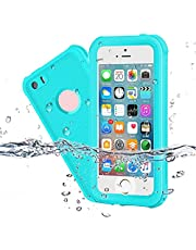 EFFUN Waterproof iPhone 5/5S/SE Case, IP68 Certified Waterproof Dustproof Snowproof Shockproof Case Fully Sealed Underwater Cover with Built-in Screen Protector for iPhone 5/5S/SE Aqua Blue