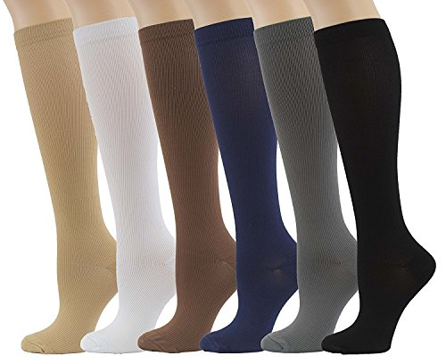 ASRocky Graduated Compression Socks Anti-Fatigue Antimicrobial Calf High Below Knee Mens Womens Sock Leg Foot Ankle Heel Support Pain Relief Stockings Reduce Swelling (6Pr-BlkBrnBgeWhtGryNvBlu, Lg/XL)