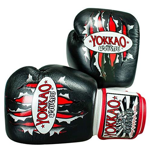 YOKKAO Tiger Muay Thai Leather Boxing Gloves MMA Kickboxing Training Boxing (12oz)