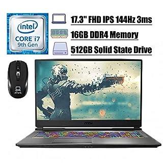 "Flagship 2020 MSI GP75 Leopard 9SD Gaming Laptop, 17.3"" FHD IPS 144Hz 3ms, 9th Gen Intel Hexa-Core i7-9750H, 16GB DDR4 512GB SSD, 6GB GeForce GTX 1660 Ti RGB Backlit KB Win 10 + ePark Wireless Mouse"