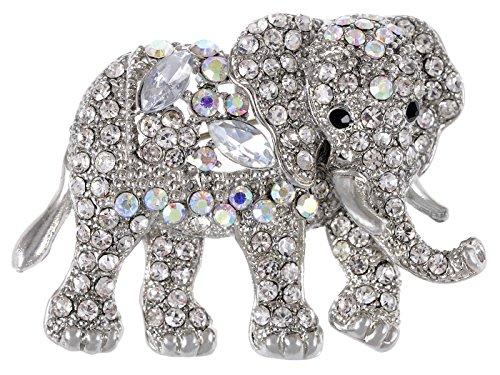 Brooch Elephant Silver - Alilang Indian African King Elephant Clear Crystal Rhinestone Animal Kingdom Silver Tone Brooch Pin, Clear