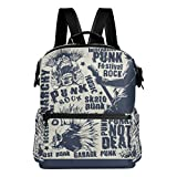 Punk Rock Music Poster Lightweight Waterproof Backpack Campus Backpack Travel Daypack
