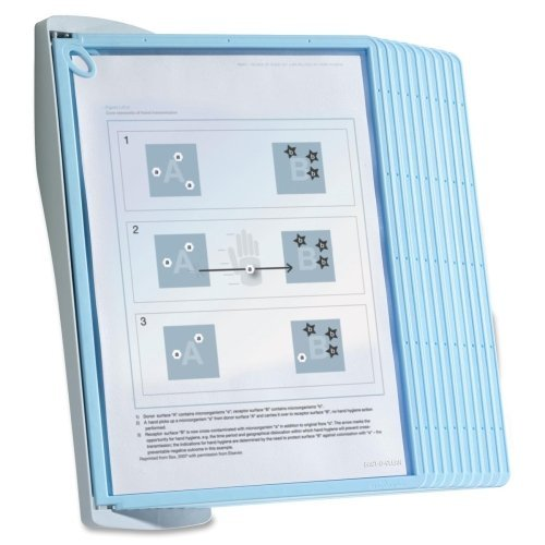 Wholesale CASE of 3 - Durable Sherpa-Style Wall Reference System-Wall Reference System,Antimicrobial, 10 Panels, Lt Blue (Products Reference Display Sherpa System)