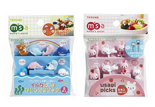Torune Mama's assist Food Picks Bento Lunch Accessories Picks - 8-Piece Sea Animals 8-Piece Rabbit Set