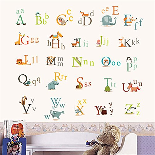 BAYCHEER Peel and Stick Removable Wall Decal, Creative Classic Animals Alphabet Decorative Wall Stickers Home Decor stickers for Children Bedroom, Nursery, Playroom Mural, Living Room, 60x90cm