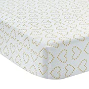 Lambs & Ivy Confetti Fitted Crib Sheet, Pink/Gold Heart