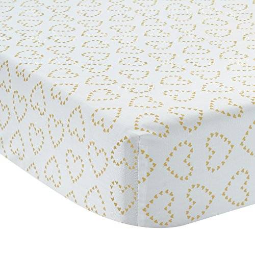 (Lambs & Ivy Confetti Fitted Crib Sheet, Pink/Gold Heart)