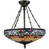 Quoizel TF1781VB Belle Fleur Tiffany Bowl Pendant Lighting - 4-Light - 400 Watts - Vintage Bronze (27