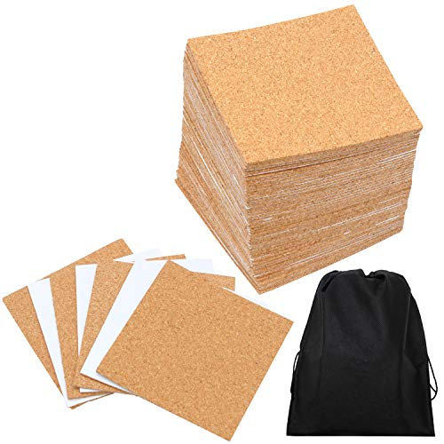 Resinta 80 Pack SelfAdhesive Cork Squares 4 Inches x 4 Inches Cork Backing Sheets Mini Wall Cork Tiles with a Storage Bag for Coasters and DIY Crafts