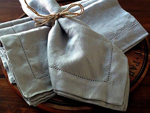 Linen Napkins Stonewashed 100% Linen Handmade Hemstitched Set of 4 18 x 18 Gray color linen