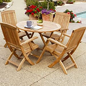 Three Birds Casual Cambridge Round Folding Cafe Table, 30-Inch