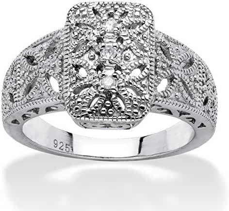 Diamond Accent Platinum over .925 Sterling Silver Vintage-Style Filigree Ring