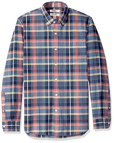Goodthreads Men's Slim-Fit Long-Sleeve Plaid Oxford Shirt, -denim red plaid, XX-Large