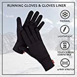 Aegend Lightweight Running Gloves Warm Gloves Mittens Liners Women Men Touch Screen Gloves Cycling Bike Sports Compression Gloves for Winter Early Spring Or Fall,4 Colors, 3 Sizes