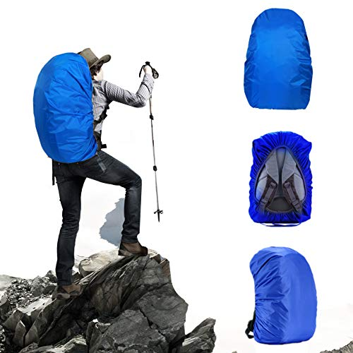 Yalkerw Waterproof Backpack Rain Cover (15-90L) for Hiking, Camping, Traveling, Cycling (Blue, Middle (for 30-40L Backpack))