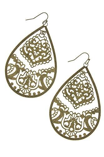KARMAS CANVAS VINTAGE ORNATE DROP EARRINGS (Antique Gold)