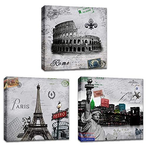 Postcards Framed Art Wall Decor - Innopics Famous Landmark Architecture Poster Print Canvas Wall Art 3 Piece Statue of Liberty,The Colosseum,Eiffel Tower Picture Painting Black and White Decor Framed for Home Bedroom Office Decoration