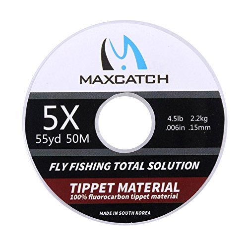 M MAXIMUMCATCH Maxcatch Fluorocarbon Tippet Line for Fly Fishing –Virtually Invisible - Superior Abrasion Resistance-Low Stretch-Low Water Absorption 54yd 0X-6X (3X)