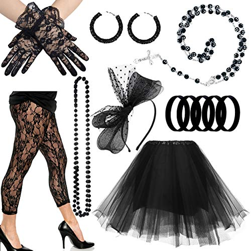 80s Diva Adult Costume - CSG 80s Pop Diva Costume Accessories for Women Madonna Party Outfit (Style B-Black)
