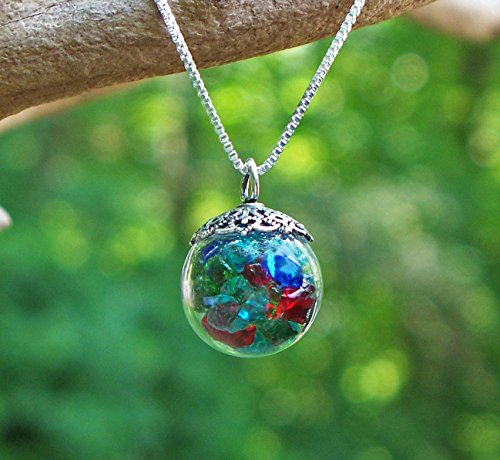 Recycled Vintage Bottles Multi Glass Orb Necklace