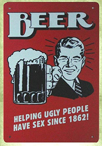 QDTrade Metal Sign 8 x 12inch - Beer Helping Ugly People Have Sex bar Pub Metal Sign at Home Decor