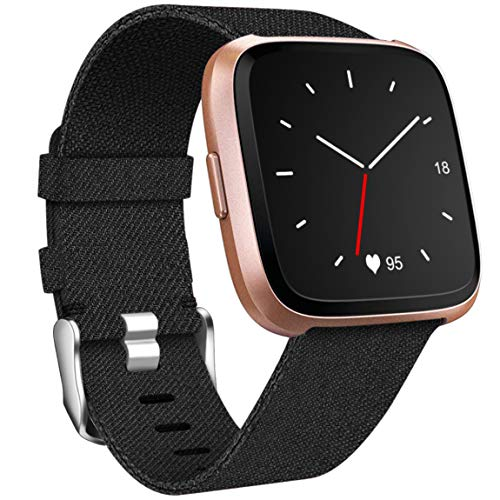 Maledan Compatible with Fitbit Versa Bands Women Men Large Small, Woven Fabric Accessories Strap Wrist Band Replacement for Versa Smart Watch, Black, Large Size