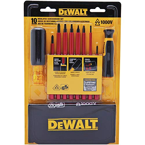 Dewalt Electric Locks - Dewalt DWHT66417 VINYL GRIP INSULATED SCREWDRIVER SET - 10 PC