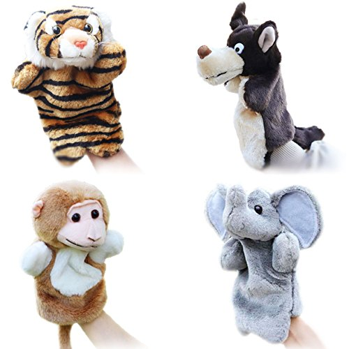 4pcs Animal Hand Puppets for Kids Fit Adults and Children Storytelling Game Props--Forest Animals - Adult Puppet
