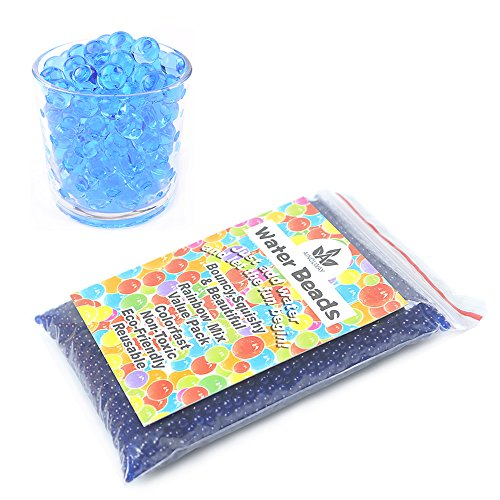 AINOLWAY 8 OZ Water Beads, Original Size Water Gel Bead Jelly Growing Balls for Kids Tactile Toys, Sensory Toys, Vase Filler (Blue) - Small Jelly Filler Balls