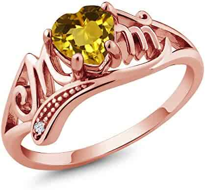Jewelry & Watches 14Kt Rose Gold Plated Natural Ecstasy Mystic Topaz & Diamond Heart Flower Ring