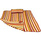 Sunnydaze Weather-Resistant Outdoor Polyester Quilted Hammock Pad Pillow Only Set, Tropical Orange Stripe