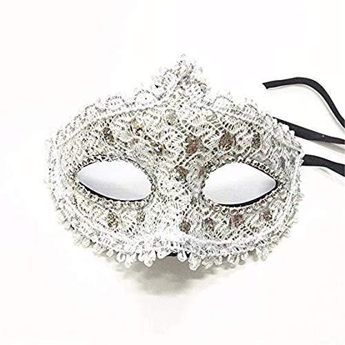 MMMMM Face mask Shield Veil Guard Screen Domino False Front Venice Make-up Dance Show Party Half face Female mask White,1]()