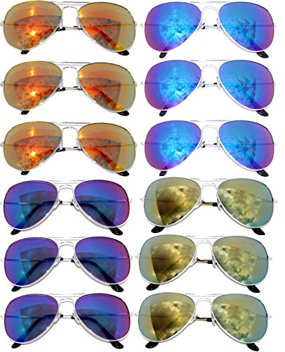 12 Pairs Classic Aviator Sunglasses Metal Gold Silver Black Colored Mirror Lens OWL (Aviator_Mix_12p_Yelow_Blue_Green_Red, - Colored Sunglasses Aviator