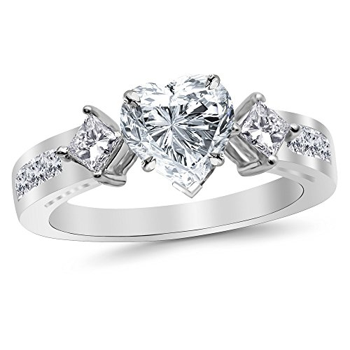 1.55 Cttw Platinum Heart Cut Channel Set 3 Three Stone Princess Diamond Engagement Ring with a 0.7 Carat H-I Color SI2-I1 Clarity Center (Platinum Channel Set 5 Stone)