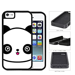 Cute Panda Face Anime 2-Piece Dual Layer High Impact Rubber Silicone Cell Phone Case Apple iPhone 5 5s