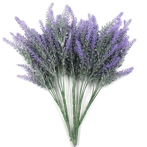 5 Bundles Artificial Flowers Lavender Purple Flocked Bouquet