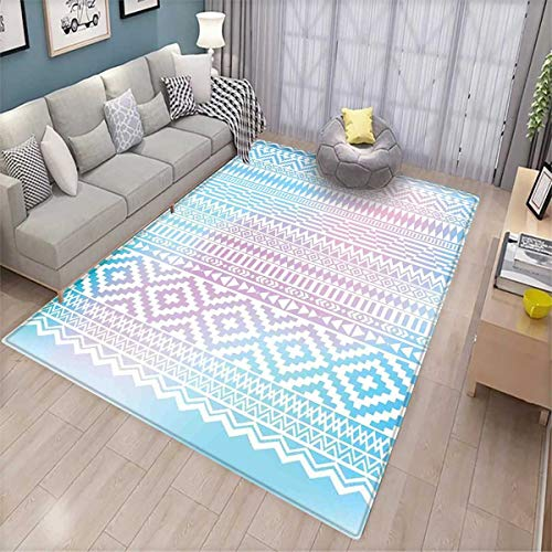 Afghan Anti-Skid Rugs Geometric Shapes with Triangles Rhombuses and Herringbone Zigzag Stripes Girls Rooms Kids Rooms Nursery Decor Mats Lilac and Pale Blue -