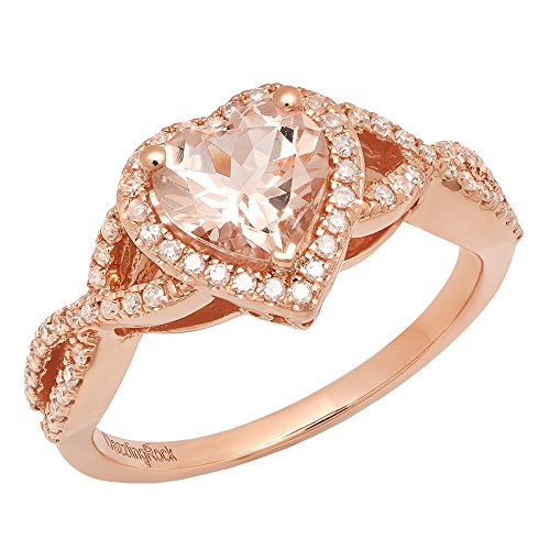 DazzlingRock Collection 10K Rose Gold 7 MM Heart Morganite & Round White Diamond Ladies Swirl Halo Engagement Ring
