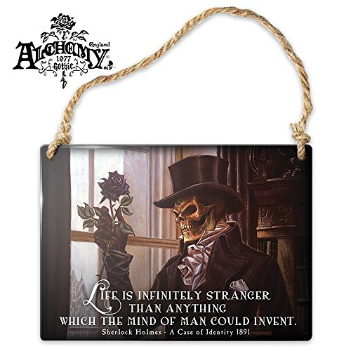 Original Sherlock Holmes Costume (Alchemy Of England Life Is Infinitely Stranger Small Metal Hanging Sign Gothic)