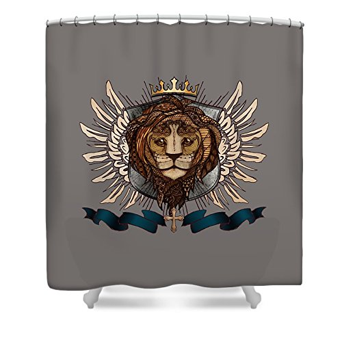 Pixels Shower Curtain (74'' x 71'') ''The King's Heraldry II'' by Pixels