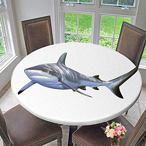 Dress Costa Reef - Mikihome Round Premium Tablecloth Shark A Reef Shark Swimming Futuristic Computer Art Stylized Underwater Stain Resistant 63