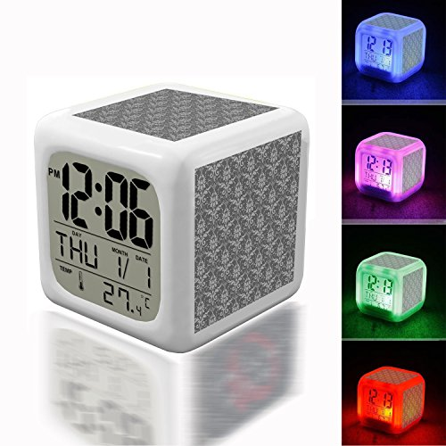 - Wake Up Alarm Thermometer Night Glowing Cube 7 Colors Clock LED for Bedroom&Table,School Desk Customize- 670. Brocade pattern background gray