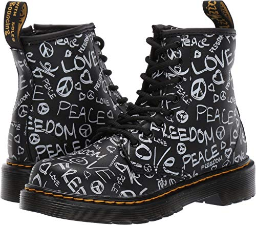 Dr. Martens Kid's Collection Unisex 1460 Script Delaney Boot (Little Kid/Big Kid) Black Romario 2 M UK -