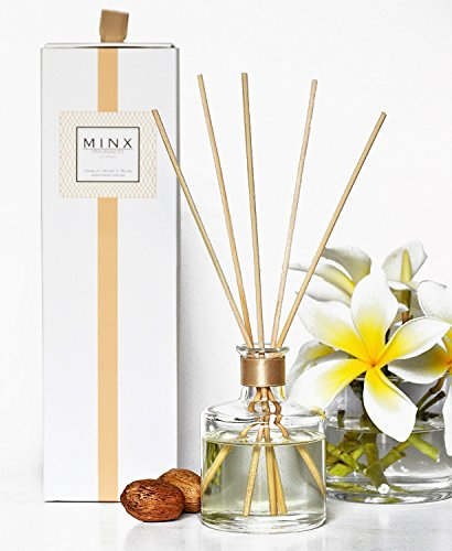 48hr Sale! Vanilla Orchid & Pecan Aromatherapy oil Reed Diffuser GIFT SET by MINX Fragrances | Warn Vanilla, Crushed Pecans & Brown Sugar | Autumn & Winter Scented Air Freshener | Great Gift (Winter Reed)